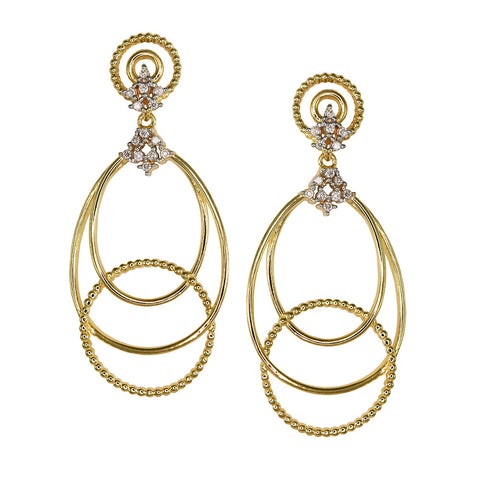 18ct Yellow Gold 0.17ct Diamond Champagne Earrings