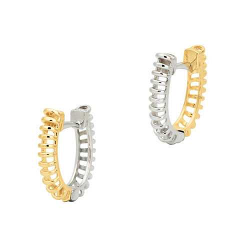 18ct White & Yellow Gold 15mm Reversible Huggie Earrings