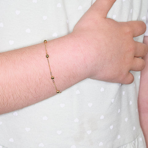 18ct Yellow Gold Bead on Box Chain Bracelet for Children