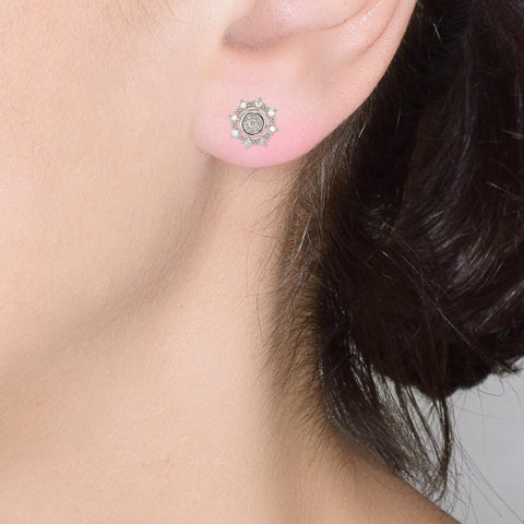 18ct White Gold Diamond Starburst Earrings