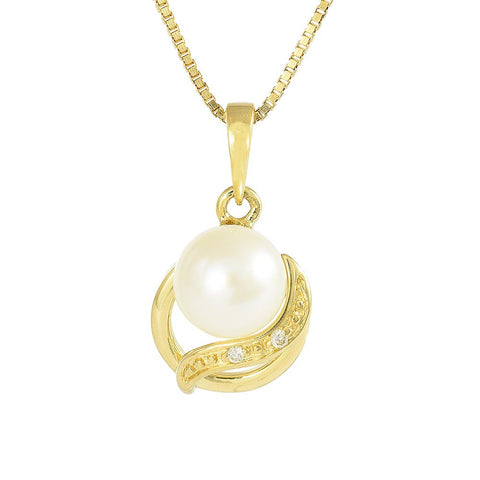 18ct Yellow Gold Pearl & Diamond Purity Necklace