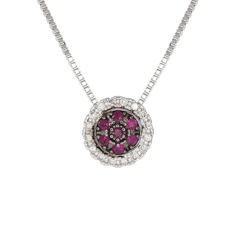 18ct White Gold 0.14ct Ruby & Diamond Cosmos Necklace