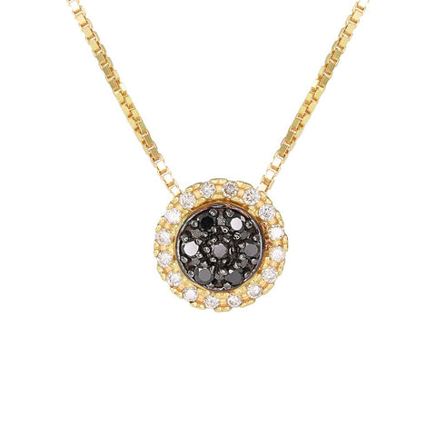18ct Yellow Gold 0.14 ct Black & White Diamond Cosmos Necklace