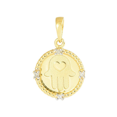 18ct Yellow Gold Diamond Hansa Pendant