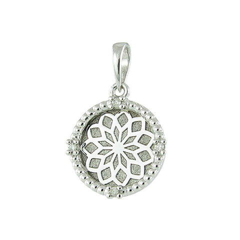 18ct White Gold Diamond Lotus Flower Pendant