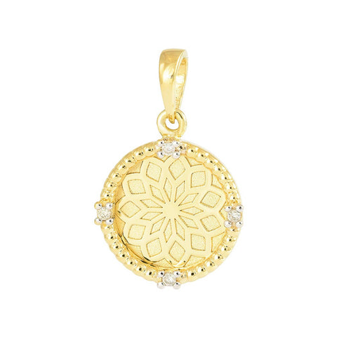 18ct Yellow Gold Diamond Lotus Flower Pendant