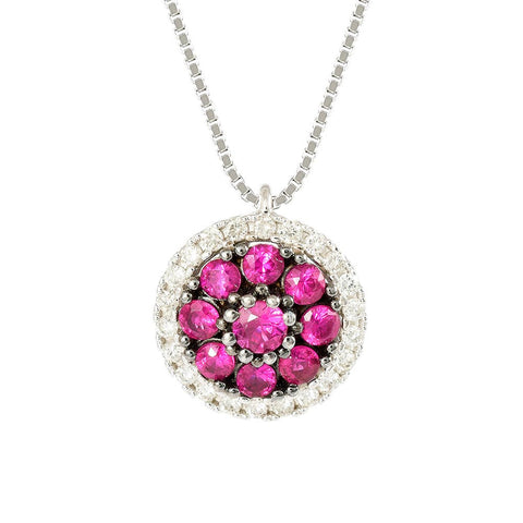 18ct White Gold 0.45 ct Ruby & Diamond Cosmos Necklace