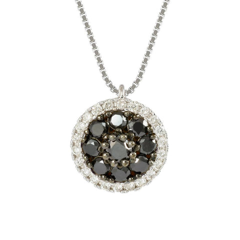 18ct White Gold 0.45ct Black & White  Diamond Cosmos Necklace