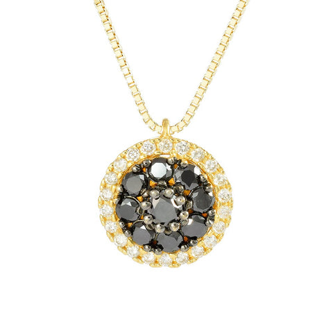 18ct Yellow Gold 0.45 ct Black & White Diamond Cosmos Necklace