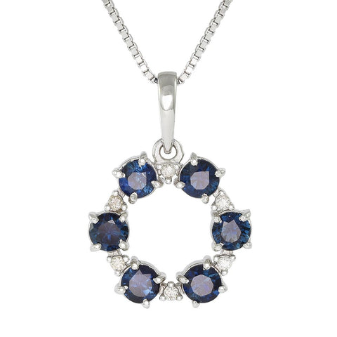 18ct White Gold 0.88ct Sapphire & Diamond Constellation Necklace