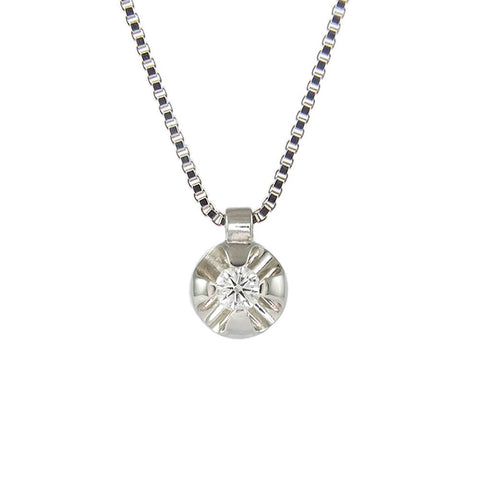 18ct White Gold Solitaire 0.05ct Diamond Necklace