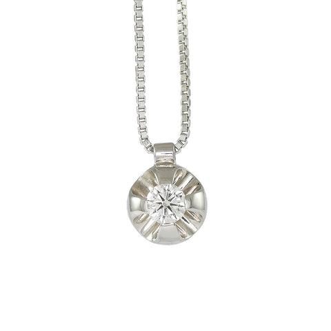 18ct White Gold Solitaire 0.10  ct Diamond Necklace