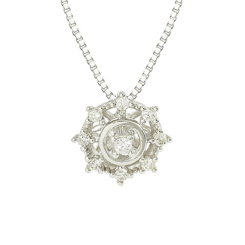 18ct White Gold Diamond Starburst Necklace