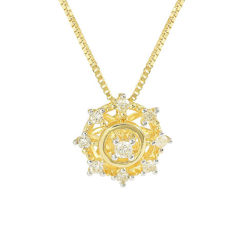 18ct Yellow Gold Diamond Starburst Necklace