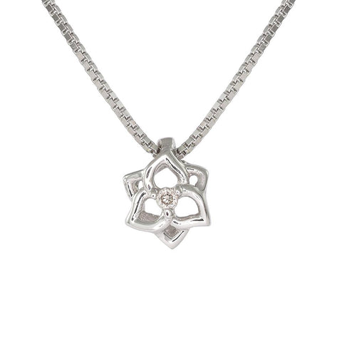 18ct White Gold Diamond Petite Flower Necklace