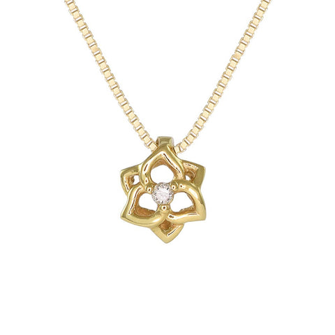 18ct Yellow Gold Diamond Petite Flower Necklace