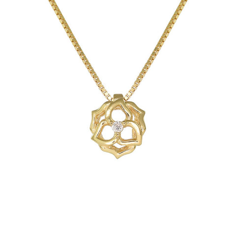 18ct Yellow Gold Diamond Flower Necklace