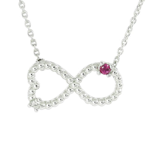 18ct White Gold Ruby & Diamond Infinity Love Necklace