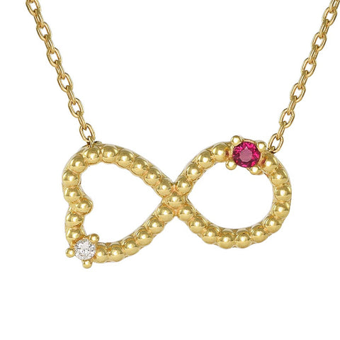 18ct Yellow Gold Ruby & Diamond Infinity Love Necklace