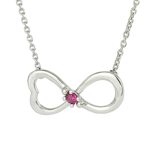 18ct White Gold Ruby Infinity Love Necklace