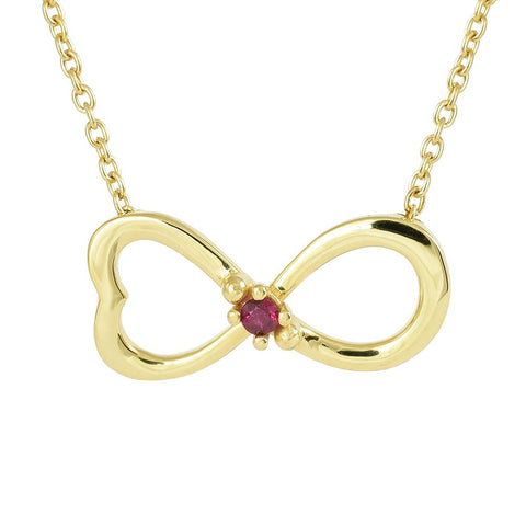 18ct Yellow Gold Ruby Infinity Love Necklace