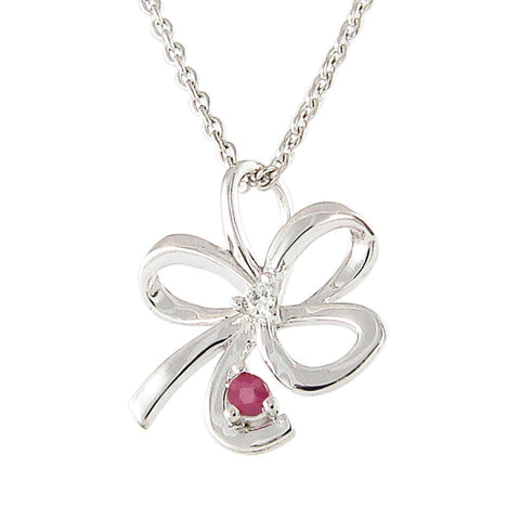 18ct White Gold Ruby & Diamond Bow Necklace