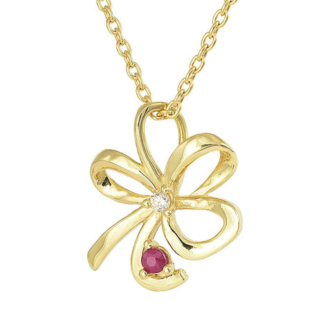 18ct Yellow Gold Ruby & Diamond Bow Necklace