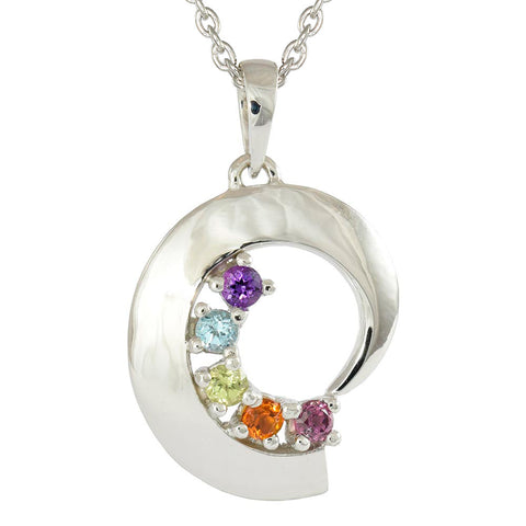 18ct White Gold Precious Gemstone Rainbow Necklace