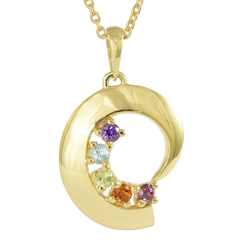 18ct Yellow Gold Precious Gemstone Rainbow Pendant