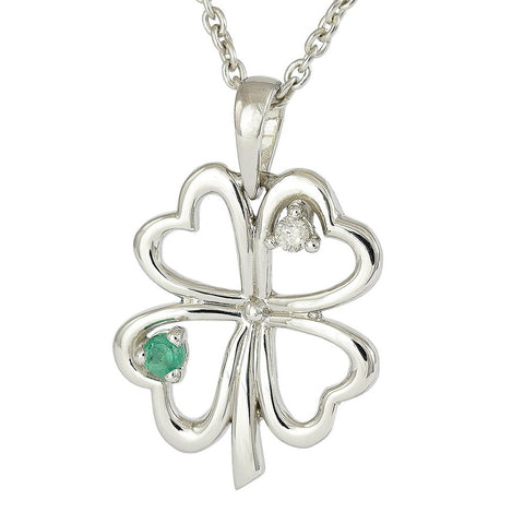18ct White Gold Emerald & Diamond 4 Leaf Clover Necklace