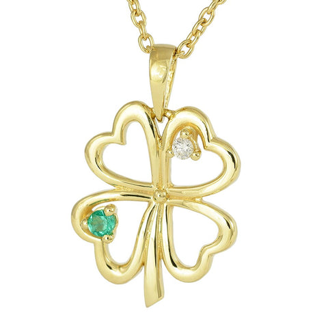 18ct Yellow Gold Emerald & Diamond 4 Leaf Clover Necklace