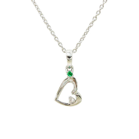 18ct White Gold Emerald & Diamond Heart Necklace
