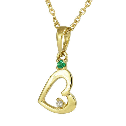 18ct Yellow Gold Emerald & Diamond 4 Leaf Clover Leaf Necklace