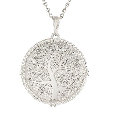 18ct White Gold Diamond Family Tree Necklace