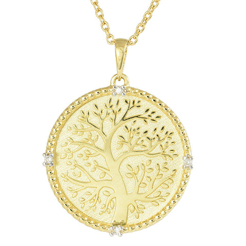 Family Tree 18crt yellow gold necklace