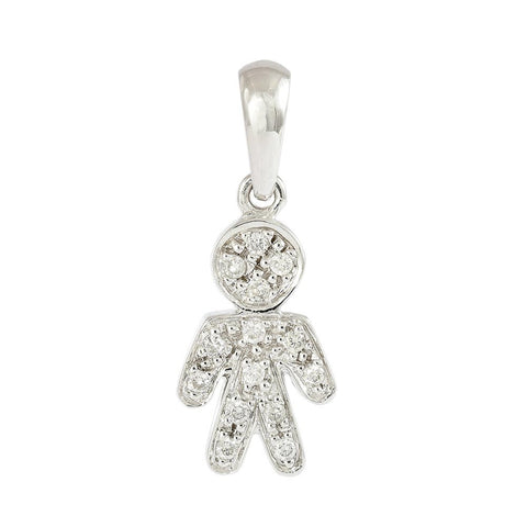 18ct White Gold Pave Diamond Little Boy Pendant