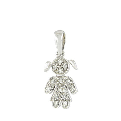 18ct White Gold Pave Diamond Little Girl Pendant