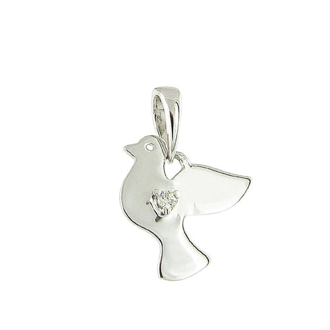 18ct White Gold Diamond Dove Pendant