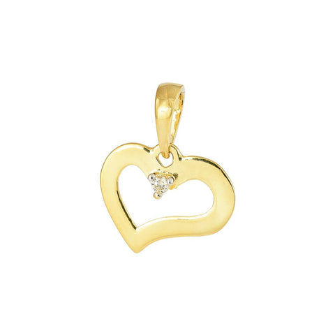 18ct Yellow Gold Diamond Heart Pendant