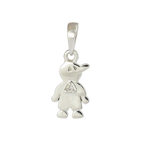 18ct White Gold Diamond Little Boy Pendant