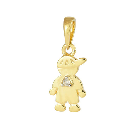 18ct Yellow Gold Diamond Little Boy Pendant