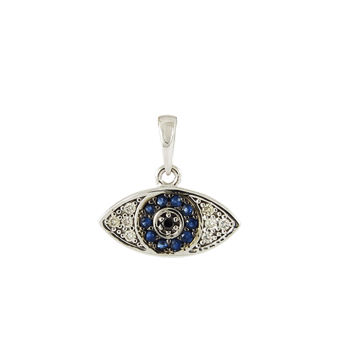 18ct White Gold Sapphire & Diamond Evil Eye Pendant