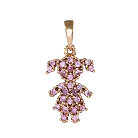 18ct Rose Gold Pink Sapphire Little Girl Pave Pendant