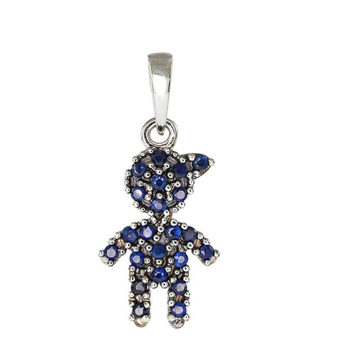 18ct White Gold Pave Blue Sapphire Little Boy Pendant