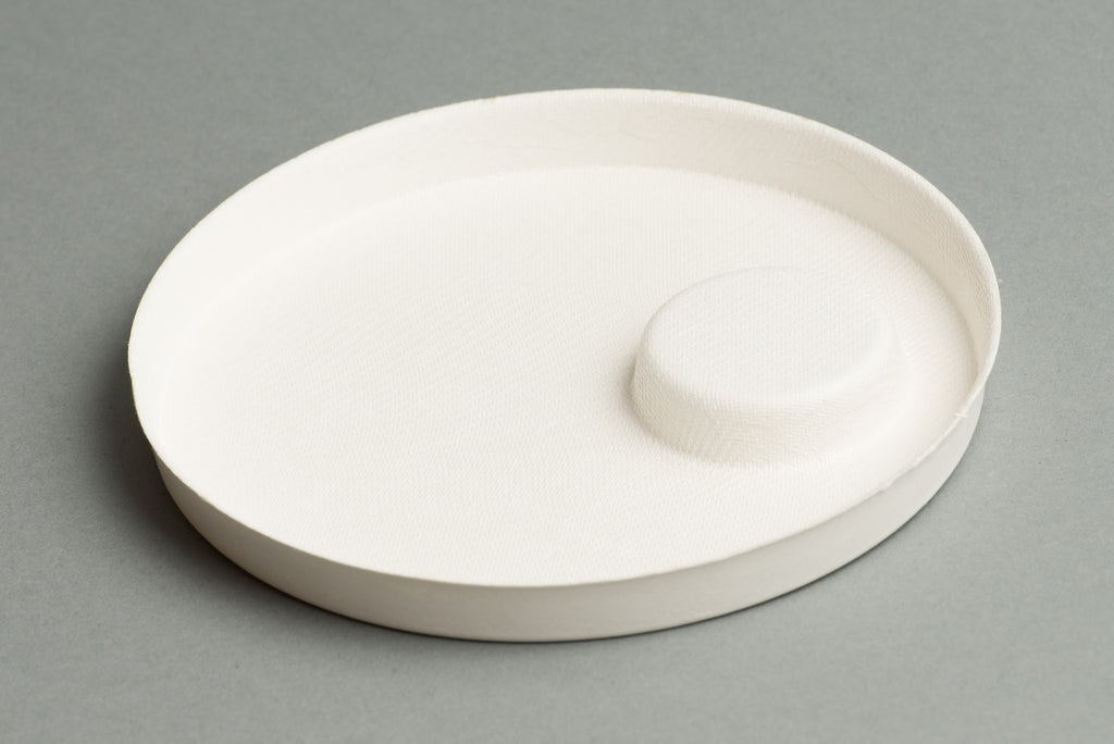 Reversible bagasse canape plate biodegradable for Disposable canape dishes