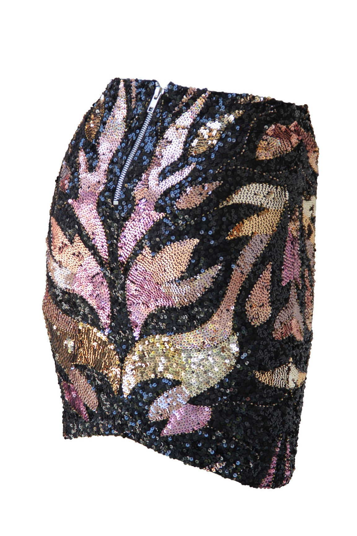 Skirt High Waist Flames Black