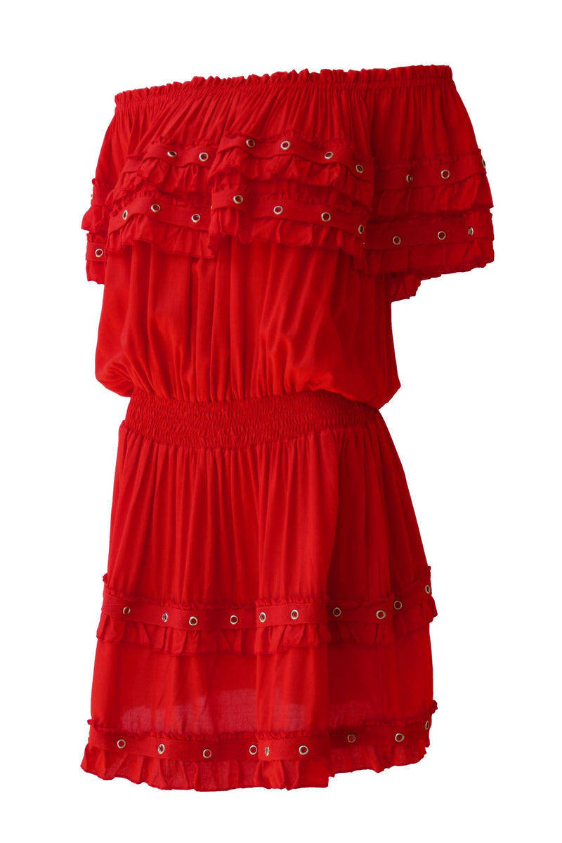 Dress Double Volant Eyelet Red