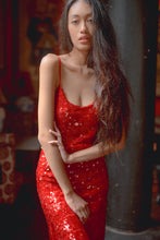 Load image into Gallery viewer, Mini Dress Sequin Red