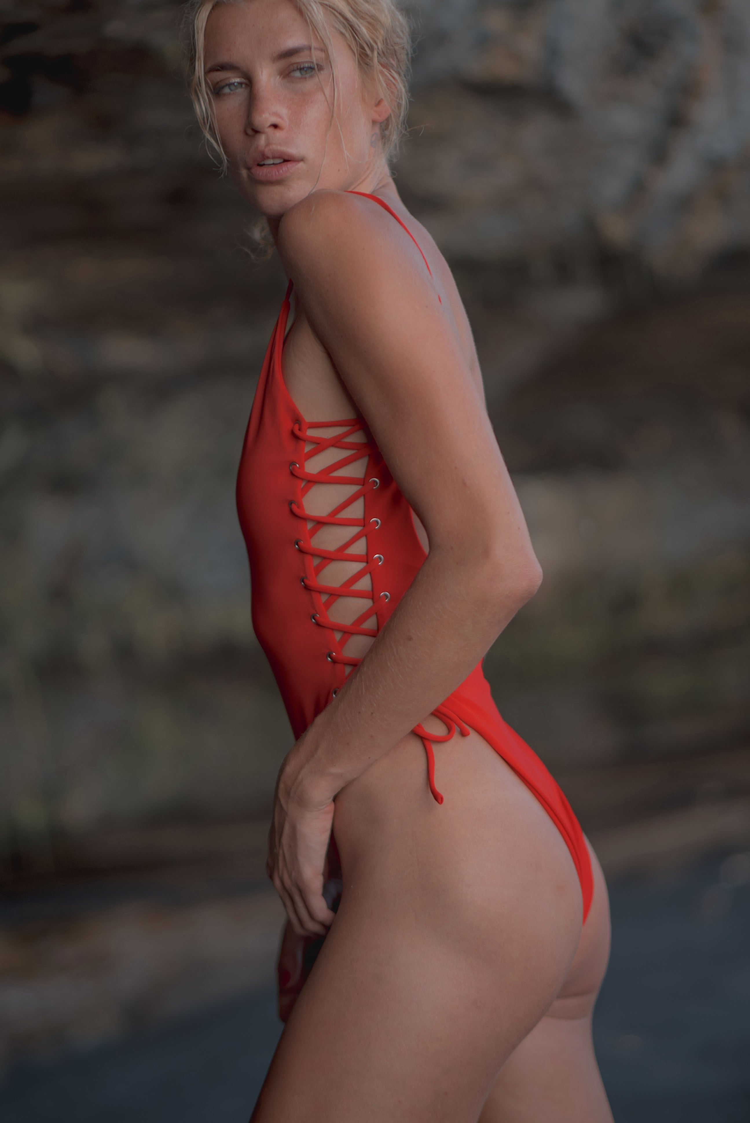 One Piece Lace Up Red