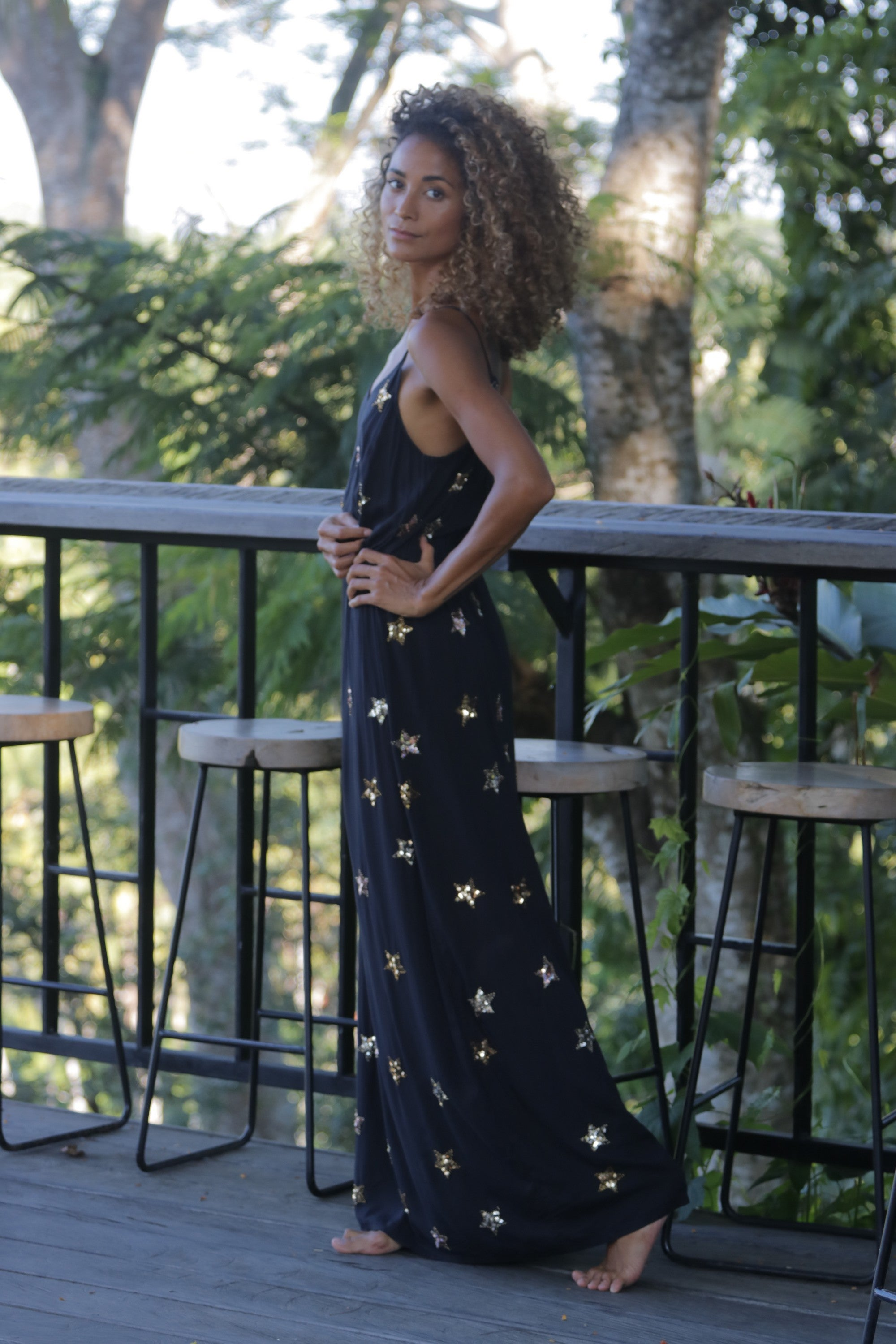 Dress Long Stars Black